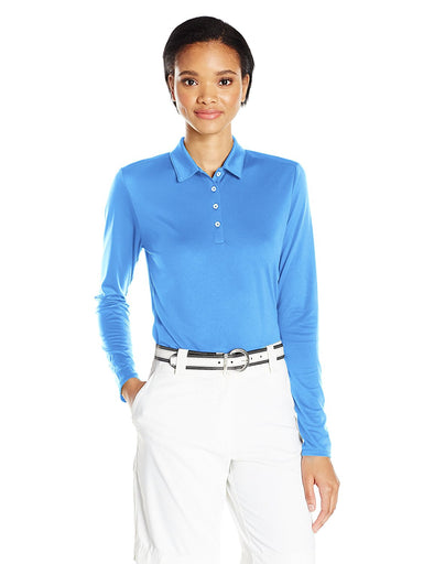 Adidas Golf Women's Tornament Performance Long Sleeve Polo Shirt, Lucky Blue