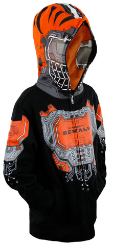 183a6db0333 NFL Football Youth Boys Cincinnati Bengals Full Zip Masked Sweatshirt Hoodie
