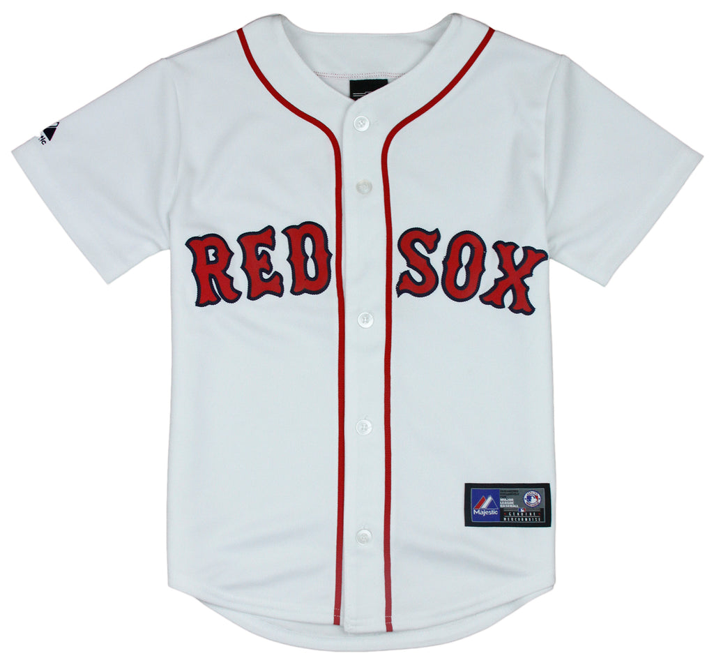 size 40 3b388 15f87 Majestic MLB Baseball Youth Boston Red Sox Home Replica Jersey - White