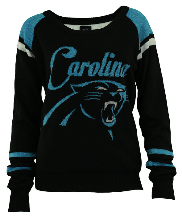 Forever Collectibles NFL Women's Carolina Panthers Glitter Scoop Neck Sweater