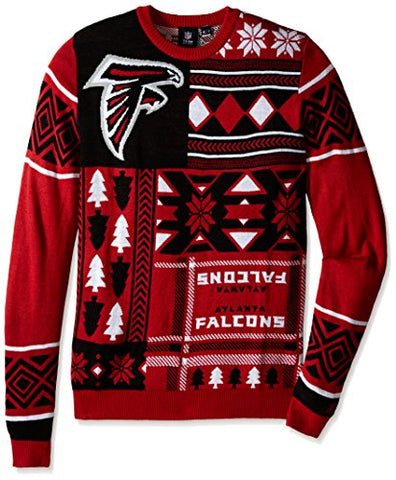 Klew NFL Men's Atlanta Falcons Patches Ugly Sweater, Black/Red