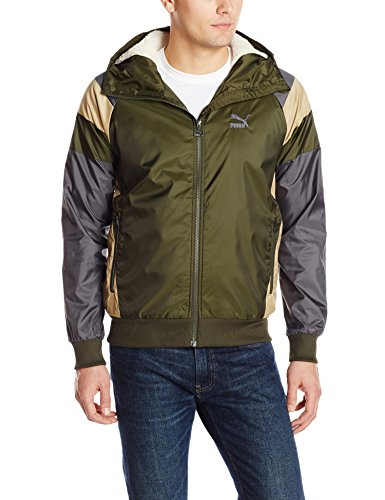 PUMA Men's Winterized Hooded Winbreaker Zip Up Jacket, Forest Night