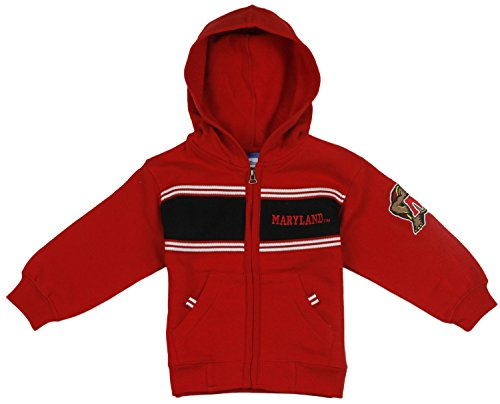 Maryland Terrapins NCAA College Toddlers Full Zip Fleece Hoodie Sweatshirt, Red