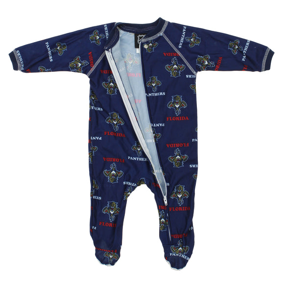 NHL Infants Florida Panthers Full Zip Raglan Logo Print Coverall, Navy