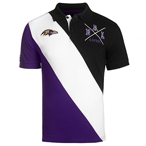 5dff2779 KLEW NFL Football Men's Baltimore Ravens Rugby Diagonal Stripe Polo Shirt
