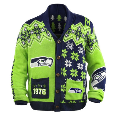 KLEW NFL Men's Seattle Seahawks Holiday Ugly Cardigan Sweater