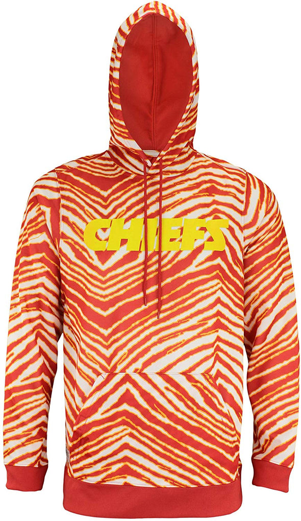 Zubaz NFL Football Men's Kansas City Chiefs Zebra Print Touchdown Hoodie