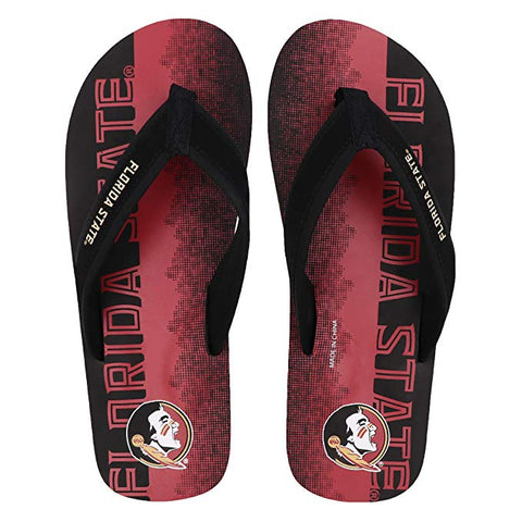 FOCO NCAA Men's Florida State Seminoles Contour Fade Wordmark Thong Sandals