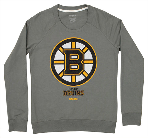 Reebok NHL Women's Boston Bruins French Terry Pullover Crew Sweatshirt