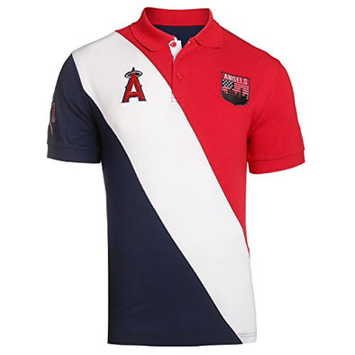 KLEW MLB Baseball Men's Los Angeles Angels Short Sleeve Rugby Polo Shirt