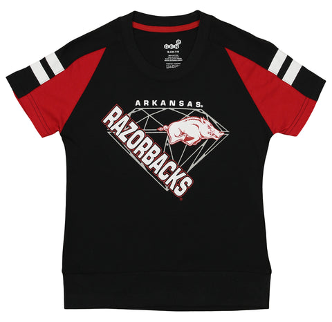 Gen2 NCAA Youth Girl's Arkansas Razorbacks Bejeweled Banded Bottom Tee