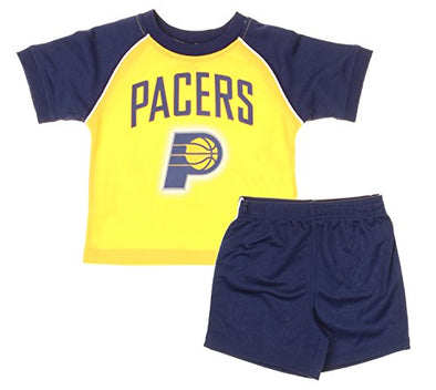 Indiana Pacers NBA Baby / Toddler Shirt and Shorts Set - Navy Blue / Gold