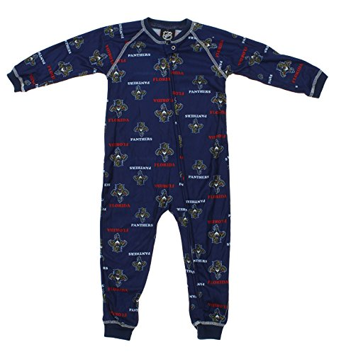 NHL Toddlers Florida Panthers Full Zip Raglan Logo Print Coverall, Navy