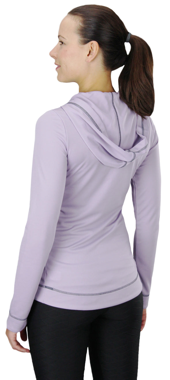 Alo Yoga Sport Women's Half Zip Long Sleeve Hoodie Sweatshirt - Lavender & Grey