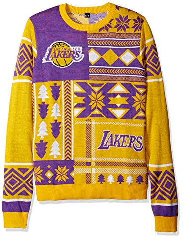 57b9a6831 Klew NBA Men s Los Angeles Lakers Patches Ugly Sweater