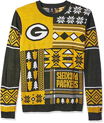 b831470da8e Klew NFL Men s Green Bay Packers Patches Ugly Crew Neck Sweater