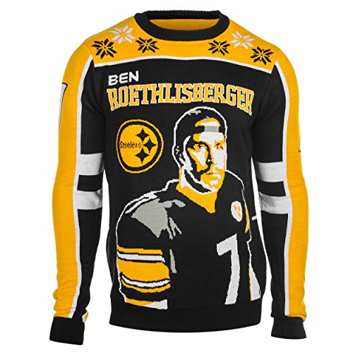 KLEW NFL Men's Pittsburgh Steelers Ben Roethlisberger #7 Ugly Sweater