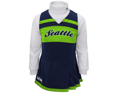 Outerstuff NFL Toddler Girls Seattle Seahawks Cheer Jumper Dress, Navy