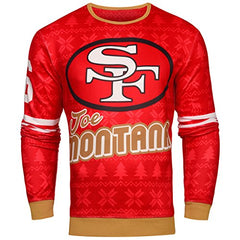 NFL Men's San Francisco 49ers Joe Montana #16 Retired Player Ugly Sweater