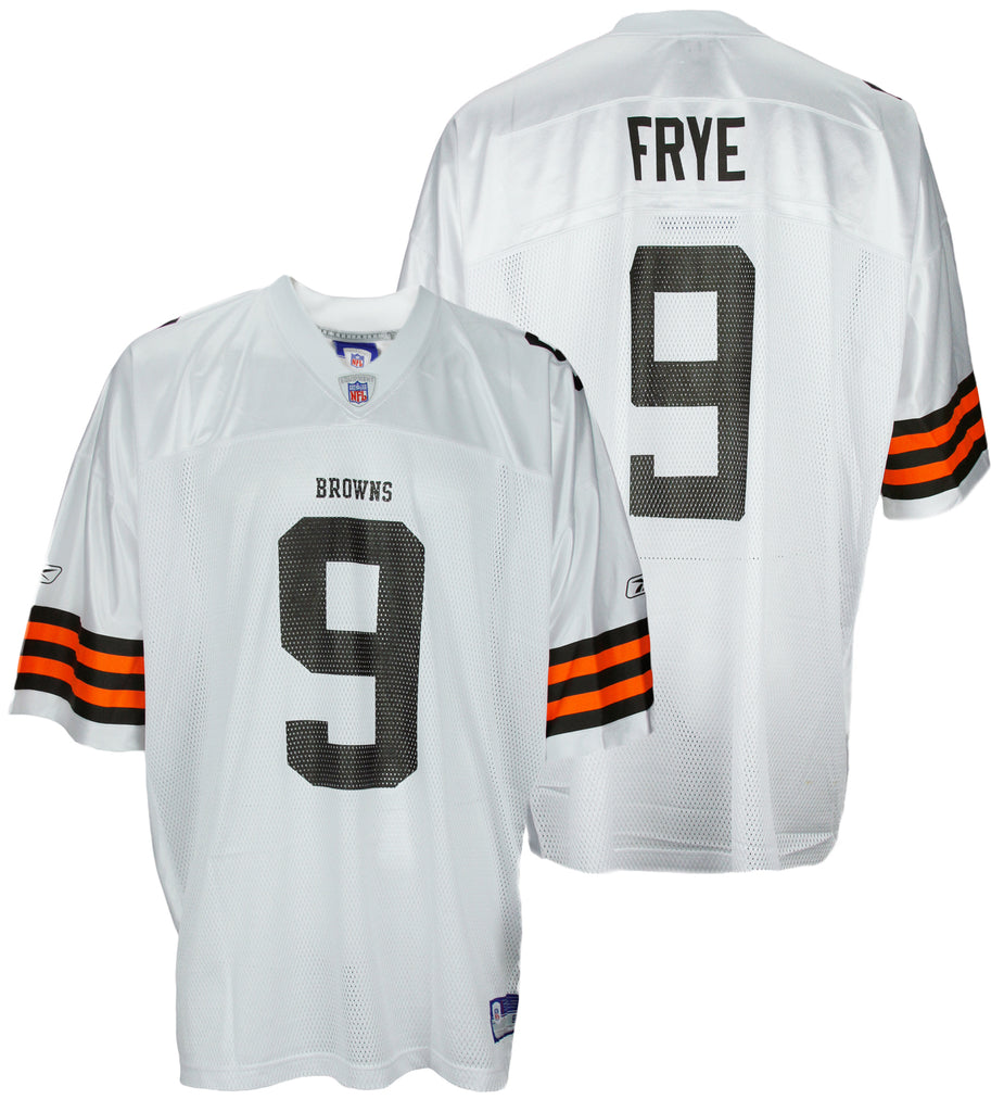 Reebok NFL Men s Cleveland Browns CHARLIE FRYE   9 Replica Jersey - White 4c9afccb0
