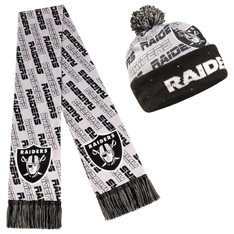Forever Collectibles NFL Adult's Oakland Raiders Light Up Beanie And Scarf Set