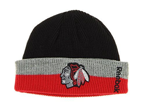8f50b18d Reebok NHL Unisex Adult Chicago Blackhawks Cuffed Knit Beanie – Fanletic