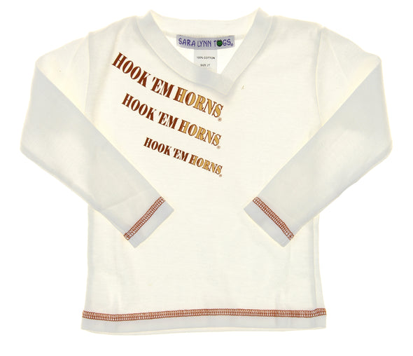 NCAA Toddlers Texas Longhorns Hook ' Em Horns Long Sleeve Tee Shirt, White