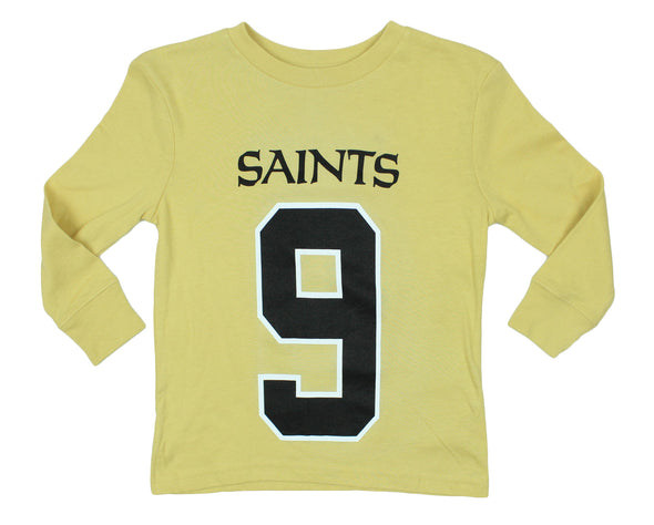 NFL Kids New Orleans Saints Drew Brees #9 Long Sleeve Mainliner Shirt