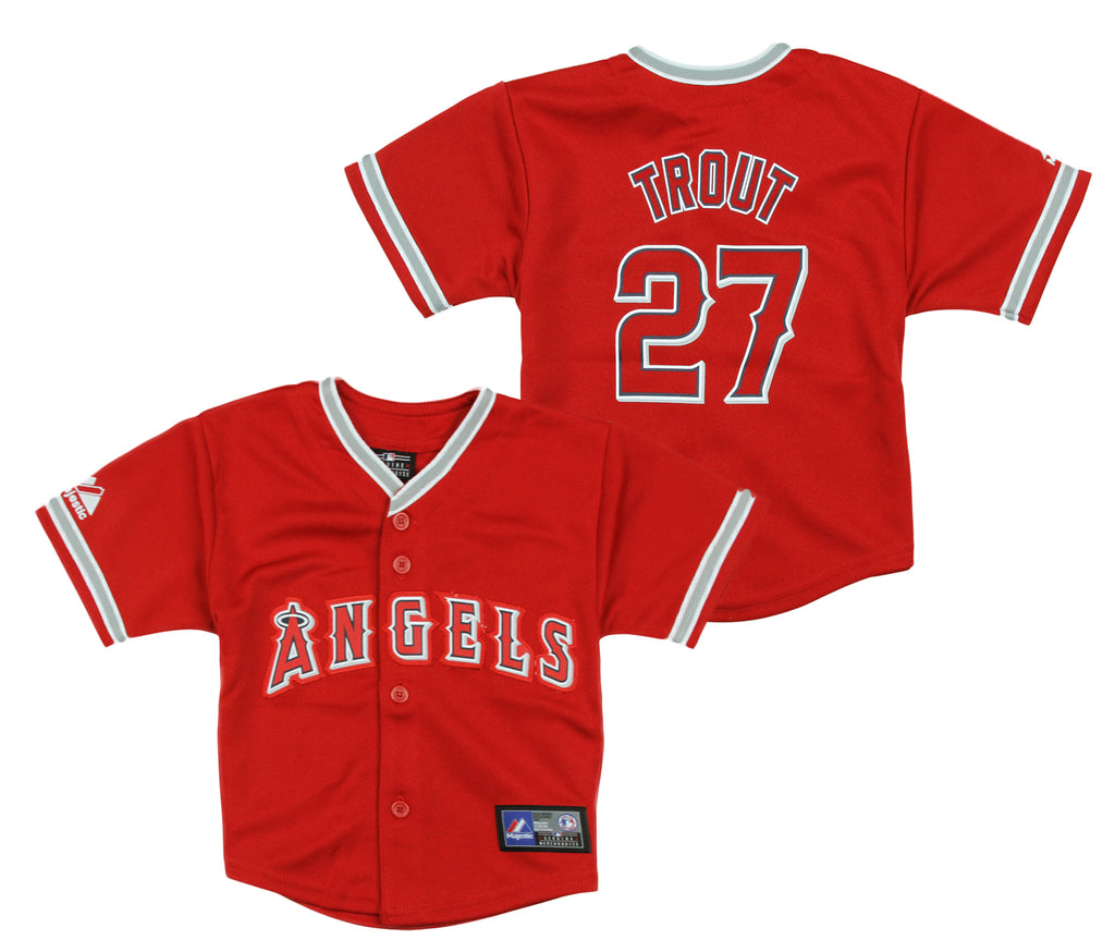 quality design 42278 daf3a Majestic MLB Infant Los Angeles Angels of Anaheim Mike Trout  27 Jersey, Red