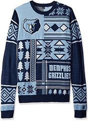 Forever Colletibles NBA Men's Memphis Grizzlies Patches Ugly Sweater