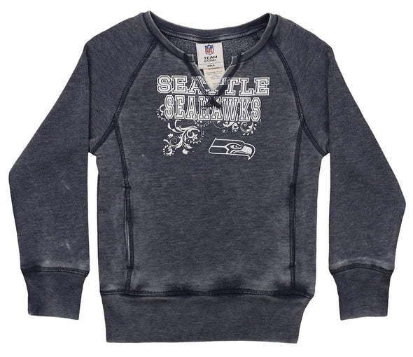 Outerstuff NFL Youth Girls Burnout Long Sleeve Fleece, Seattle Seahawks
