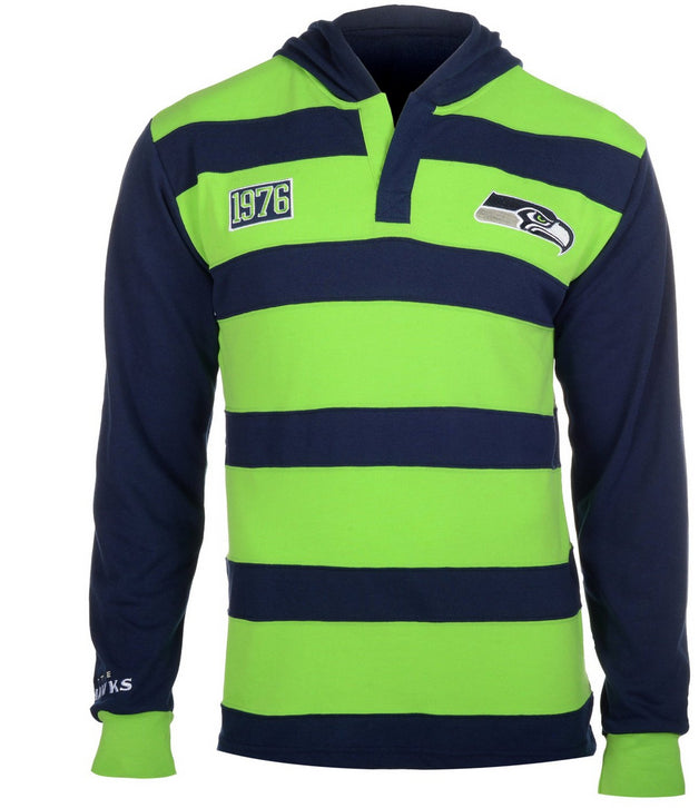 KLEW NFL Men's Seattle Seahawks Striped Rugby Pullover Hoodie, Navy / Lime Green