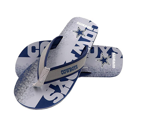 FOCO NFL Men's Dallas Cowboys Contour Fade Wordmark Thong Sandals