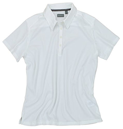 Ashworth Women's EZ-TECH2 Short Sleeve Solid Polo Shirt, White