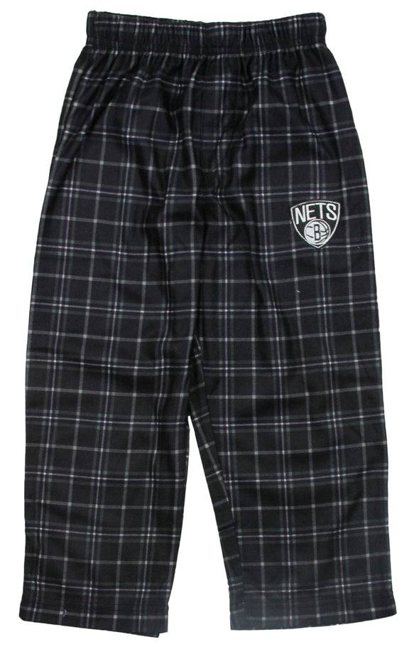 NBA Basketball Kids / Youth Brooklyn Nets Plaid Pajama Pants - Black
