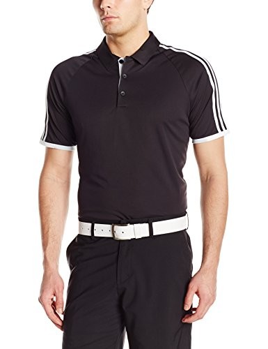 Adidas Golf Men's Climachill 3-Stripes Competition Polo Shirt, Black