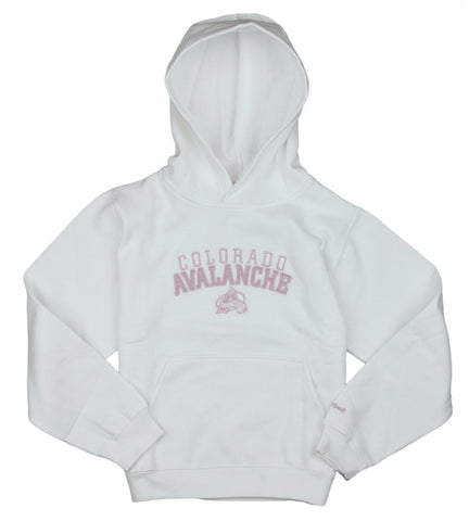Reebok NHL Youth Girls Colorado Avalanche Pullover Hoodie - White / Pink