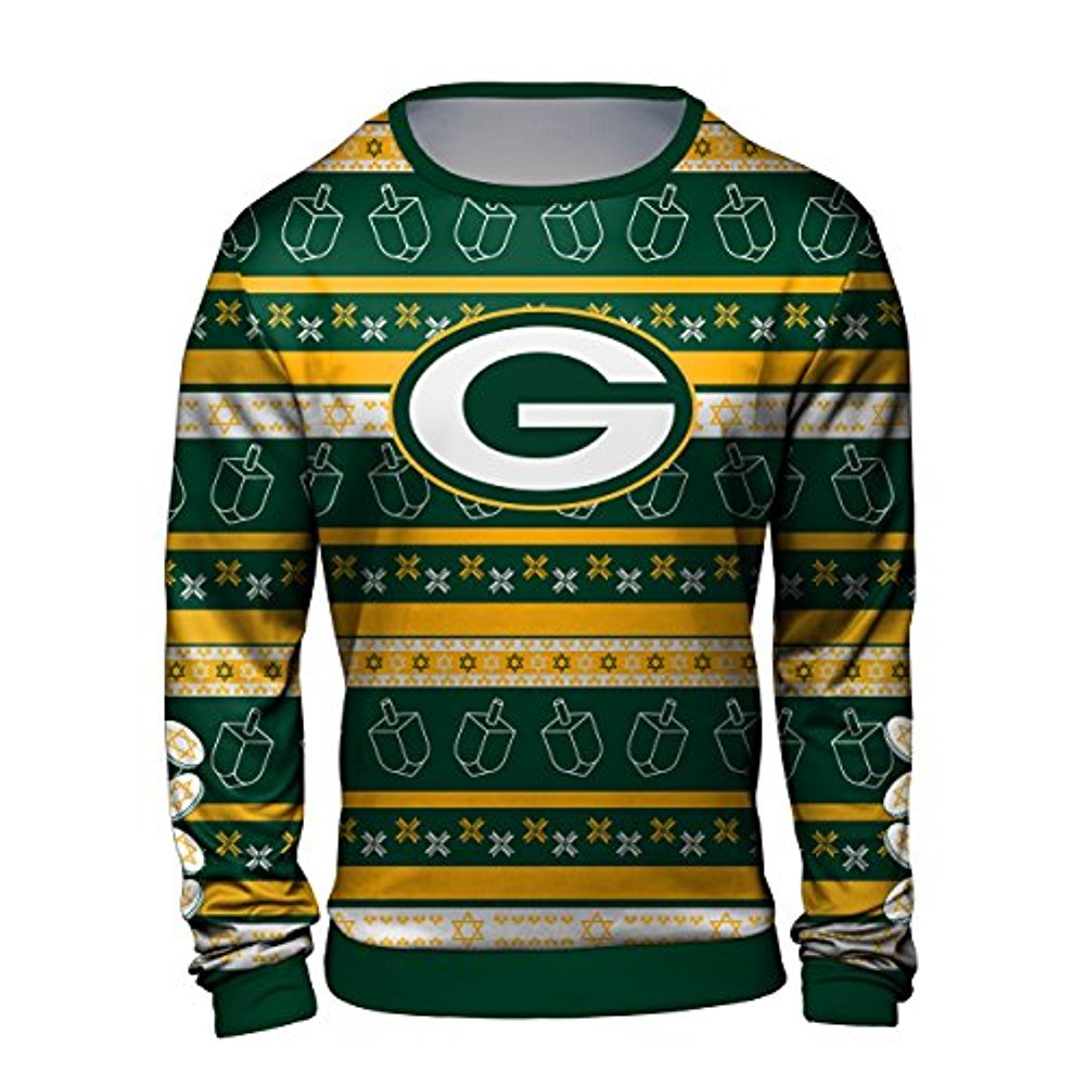 Forever Collectibles NFL Men s Hanukkah Green Bay Packers Ugly Crew Neck  Sweater 3fabfb074