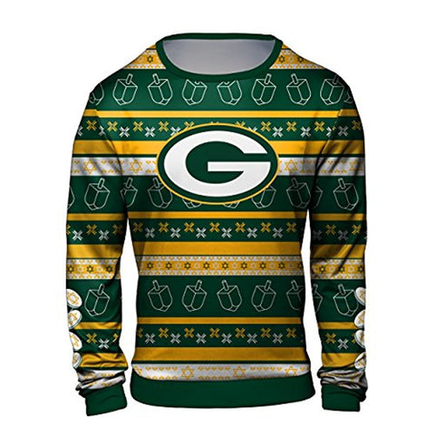 Forever Collectibles NFL Men s Hanukkah Green Bay Packers Ugly Crew Neck  Sweater. Sale 39be627a4