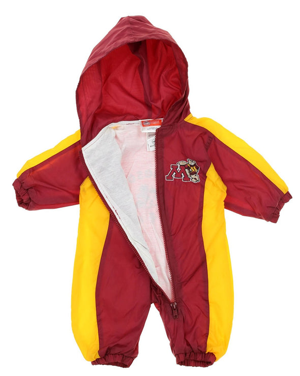 NCAA Infants Minnesota Golden Gophers Hooded Wind Coverall, Maroon & Gold