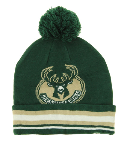 Adidas NBA Youth Milwaukee Bucks Cuffed Knit Hat With Pom, Green