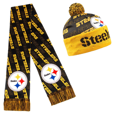 Forever Collectibles NFL Adult's Pittsburgh Steelers Light Up Beanie And Scarf Set