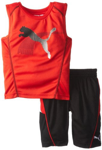 PUMA Toddler Boys Swift Perf Set - Sleeveless Top & Shorts - Red / Black