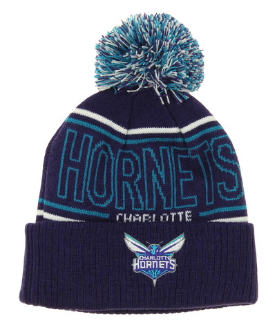 cf45cf74 Adidas NBA Youth Charlotte Hornets Cuffed Knit Hat With Pom, Purple