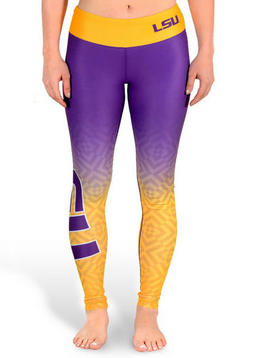NCAA Women's LSU Tigers Gradient Print Leggings, Purple