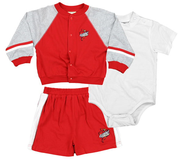 NCAA Infant Iowa State Cyclones Jacket, Creeper & Shorts Set, Red/Grey/White