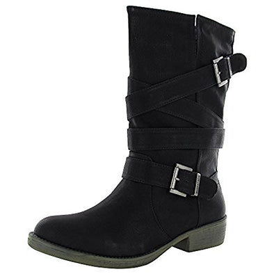 Rocket Dog Women's Truly Westwood Synthetic Motorcycle Boots - Black