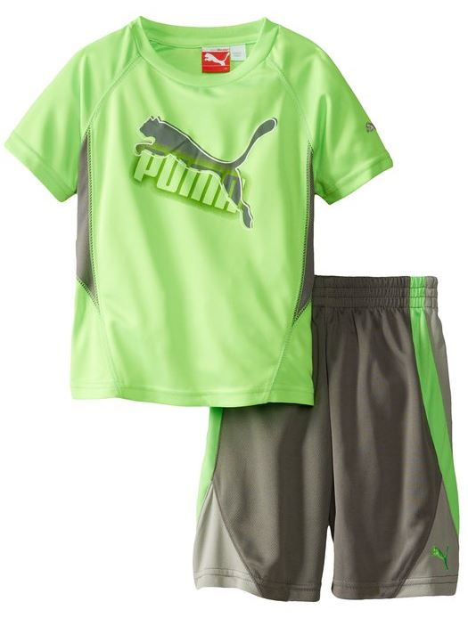 Puma Toddlers / Kids Cat Perforated Set - Jersey Shirt & Shorts - Gray & Green