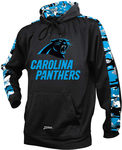 Zubaz NFL Men's Carolina Panthers Pullover Hoodie with Camo Print
