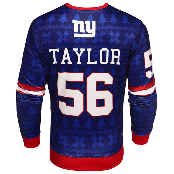 NFL Men's New York Giants Lawrence Taylor #56 Retired Player Ugly Sweater